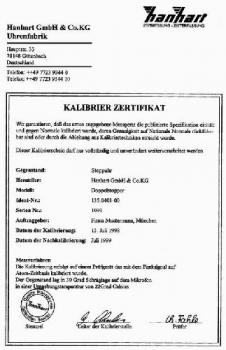 Kalibrierung zu Hanhart Stoppuhr
